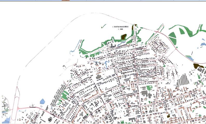 Перед вами часть карты города Ханты-Мансийска.  На карте обозначены название улиц, номера домов,наименование объектов...